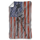 MASH Show 4077th American Flag Peace Logo One-Sided Print Fleece Throw Blanket