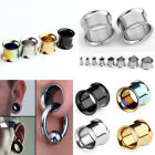 Pair Stainless Steel Double Flared Tunnels Ear Plugs Expander Stretcher Earlets