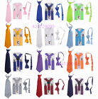Boys Girls Y Shape Plain Color Adjustable Elastic Suspenders + Bow Tie + NeckTie