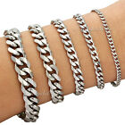 3/5/7/9/11/mm Mens Boys Chain Curb Cuban Sliver Tone Stainless Steel Bracelet
