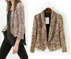 Hot Stylish Womens Lady Snake Printed Blazer Suits Jacket Suits Coat Tops S M L