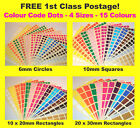 6mm Circles 10 X 20mm Rectangles Colour Code Dots Price Stickers Sticky Labels