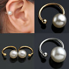 Chic 6mm & 7mm Shiny Polished Simulated Pearl Wrap U Ear Cuff Clip Earring Studs