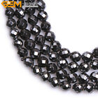 """Natural Stone Magnetic Black Hematite Gem Beads For Jewelry Making 15"""" Faceted"""
