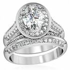 WOMEN'S STAINLESS STEEL OVAL CZ ENGAGEMENT WEDDING 2 PC PAVE RING GUARD BAND SET