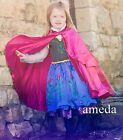 NEW Gorgeous Girls Anna Princess Costume Flower Black Blue Party Dress