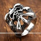 1x Punk Gothic Men Heavy Biker Dragons Claw Skull 316L Stainless Steel Band Ring