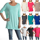 USA Women Boat Neck Long Tunic Top Short Sleeve Piko Style T-Shirt S M L 1X 2X 3