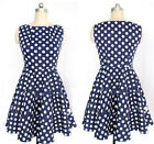 Womens Crew Neck Sleeveless Polka Dot Short Party Ladies Vintage 60s Dress Tops