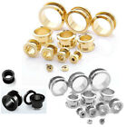 Double Flare Surgical Steel Flesh Tunnel Screw-Fix Ear Plug Stretcher Expander