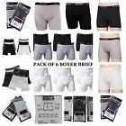 6 Mens Underwear Boxer Briefs 100% Cotton Black Gray White Pair Lot S M L XL XXL