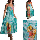 Just Funky Turquoise Floral Print Beaded Maxi Dress Tie Straps A-Line Sundress