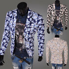 Mens Casual Dress Slim Fit Stylish Flower Print Suit Blazer Coats Jackets