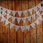3.4M 12flags Handmade Cream Lace Fabric Wedding Bunting Party Show Decor Garland