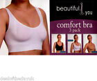 3 Pack Stretch Comfort Bra Sports Style Seamless Pull On L XL Black White Nude