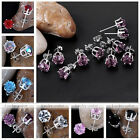 2pcs Fashion Womens Faceted Rhinestone Ear Studs Push Back Earrings Nickel Free