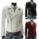 Men's Slim Fit Top Designed Zipper PU Leather Jacket Sexy Short Motorcycle Coat