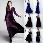 HOT Womens Fashion V Neck Long Sleeve Maxi Long Gown Evening Dress R590C
