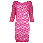 LADIES PARTY BODYCON PINK WHITE LACE DRESS PLUS SIZE 16 - 26