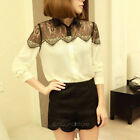 Womens Vintage Lace Long Sleeve Button Chiffon Splicing T-shirt Blouse Tops