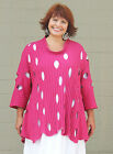 TRANSPARENTE 816-4 Cotton Knit  OVAL HOLEY TUNIC SWEATER A-line OSFM XL/1X  PINK