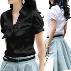 Office Womens Work Bow Shirt Button Collar Short Sleeve Vintage AU sz 6-14
