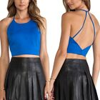 May&Maya Women's Halter Button Closure Open Back Crop Tee Top Shirt Tank