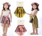 Toddler Girls 2-7Y Bow Belt Flower Lace Kids Chiffon Tuxedo Wedding Party Dress