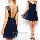 Lady Lace Chiffon Backless V Neck Evening Cocktail Party Mini Dress Blue 6-12