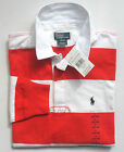 new/nwt RALPH LAUREN Boys RED&WHITE Wide STRIPED Rugby Shirt M12-14/L 14-16/XL20