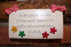 Handcrafted personalised Wooden shabby chic plaque sign DAUGHTER Gift present.