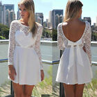 WOMENS CASUAL LACE LONG SLEEVE PARTY EVENING COCKTAIL SHORT BEACH CHIFFON DRESS