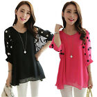 Korean Women Lady Plus Size Chiffon Top Batwing Sleeve Blouse V Neck Loose Shirt
