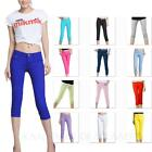 Womens Denim Leggings Crop Skinny Capri Pants Summer Ladies Jeggings Size 26-30""