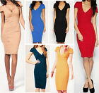 Women's Knit Short Formal Bodycon V-Neck Cocktail Evening Party Cover Up Dress