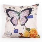 Beautiful Butterfly Style Linen Throw Pillow Case Square Pillowslip Cover