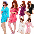 Sexy Women Lingerie Sleepwear Deep V-neck Bathrobe Kimono Dress + G-string Thong
