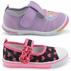 NEW INFANTS BABIES GIRLS FLAT CANVAS PUMPS PLIMSOLE VELCRO STRAP SHOES SIZE 4-9