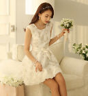 Korean Lady Womens Mini Sleeveless Party Evening Cocktail White Short Dress LACE