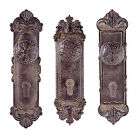 Antique Brown Decorative Door Knob & Backplate Wall Art Coat Hook - Three Design