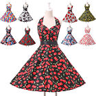 Vintage 50s 60s Hepburn Evening Prom Party Cocktail Floral Pinup Swing Dresses