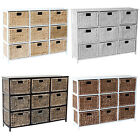 LOXLEY 9  RATTAN WICKER DRAWER WOODEN STORAGE CHEST - Choice of Colours