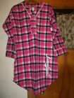 NWT Leinenkugel's Nightgown Pink Black Plaids 100% Cotton Use Drop Box For Size