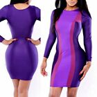 Womens Slim Fit Evening Party Dress Club Wear Sexy Long Sleeve Bodycon Bandage