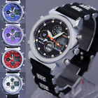 Dual Time Digital LCD Date Day Alarm Chronograph Silicone Band Sport Mens Watch