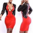 Women Sexy V Neck Pencil Dress Bodycon Bandage Party Evening Club Wear Dress