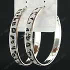 Hot Sale 6-12Pairs Big Leapord Frost Silver Hoop Earrings Wholesale Jewelry Lots