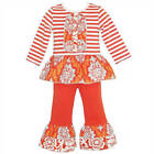 AnnLoren Girls Autumn Tuxedo Stripes & Damask Pants Set  12-18M, 24M, 4/5T
