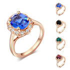 2015 Colors Shining Oval Rhinestone Austrian Crystal 18K Rose Gold Plated Rings
