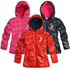 Girls Disney Minnie Mouse Coat Kids Zip Jacket With Hood New Age 3 4 6 8 Years